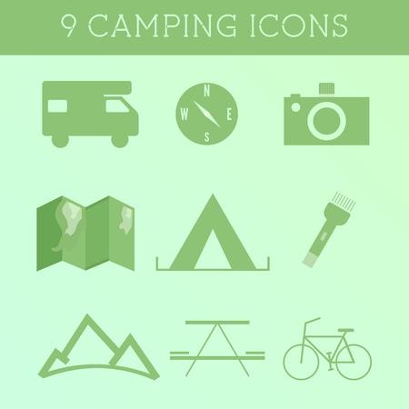 Set van Outdoor zomer camping pictogrammen. RV, camper en reiselementen. Platte ontwerp op groene achtergrond. Vector illustratie