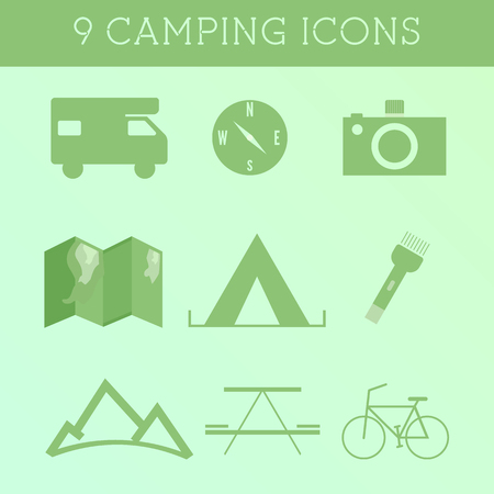 Set of Outdoor Summer camping Icons. RV, motorhome and travel elements. Flat design on green background. Vector illustration