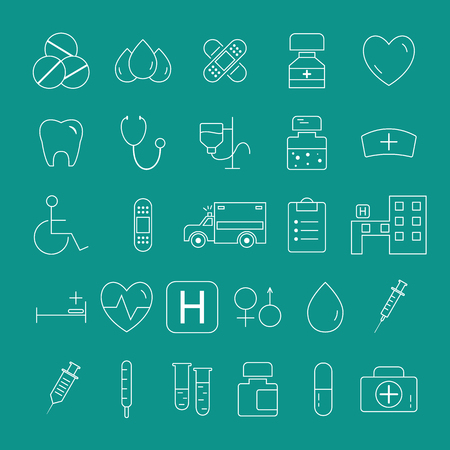 Outlined Medical Icons Set Collection. trendy thin line design. Easy to recolor and resize. illustration