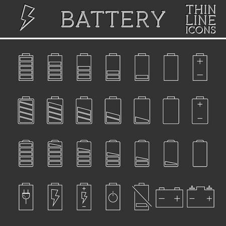 バッテリ充電レベル インジケーターをセットします。流行の細い線、概略設計。ボタン、アイコン、インフォ グラフィックの要素として使用できま