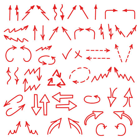 Hand drawn arrows icons set isolated on white background. Business charts, graphs, infographics. illustration