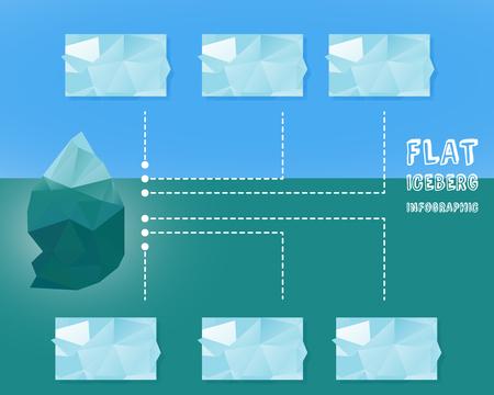 Polygonal iceberg infographics.  illustration- low poly style. Triangle flat design. Winter theme. illustration Stock Photo