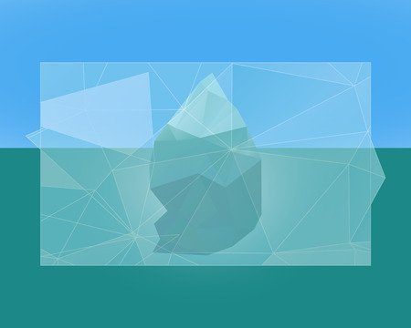 Polygonal iceberg poster, banner and flyer.  - low poly style. Triangle flat design. Winter theme. llustration