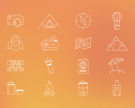 Summer camping and travel outline icons set. Outdoor activity theme. Thin line design. Isolated on orange background. illustration
