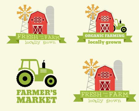 농부의 시장 디자인 템플릿 집합입니다. 유기농 및 천연 제품. 에코 테마. 삽화