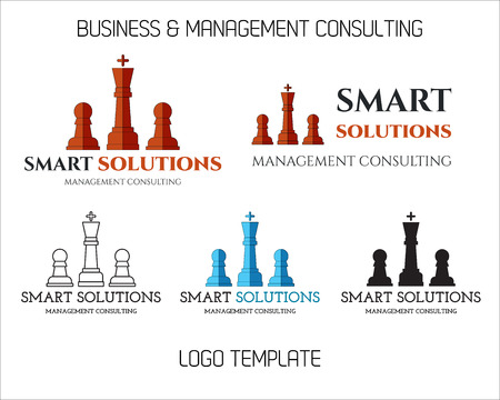Set of Smart solutions logo template. Business management Consulting concept. Ideas and project realization. Branding for management, finance, law company and others. illustration