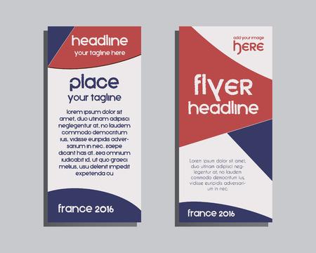 Francia 2016 fútbol folleto Flyer diseño plantilla de diseño. Estilo abstracto triángulo. Los colores nacionales del diseño de Francia. Aislado sobre fondo marrón. ilustración Foto de archivo - 85288380
