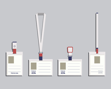 Brand identity elements - Lanyard, name tag holder and badge templates. France 2016 Football. The national colors of France design. Isolated on bright background. illustration