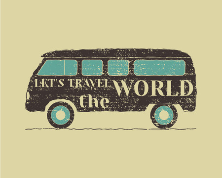 Summer vintage camp travel poster. Vintage RV, Motorhome badge and logo template. Outdoor activity and vacation banner. Vector illustration