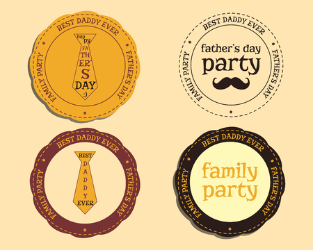 Happy Fathers Day logo and badge template with mustache and tie. Best for thematic party. Isolated on bright background. illustration