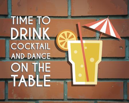 Retro poster design for cocktail lounge bar. Cocktail party concept with keywords sign. Vintage design for bar or restaurant. Food and drink concept. illustration