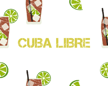 Seamless Pattern of Cuba Libre cocktail with lime and sign. White background. Vector illustration Illustration