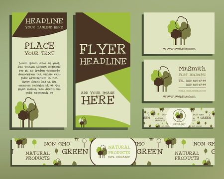 Green and organic corporate identity set template with tree elements. company style for brandbook and guideline. Flyer, visiting card. Illustration