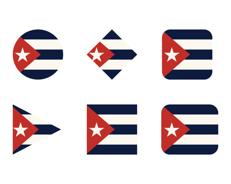 Set of buttons, icons or  templates with flag of Cuba. illustration