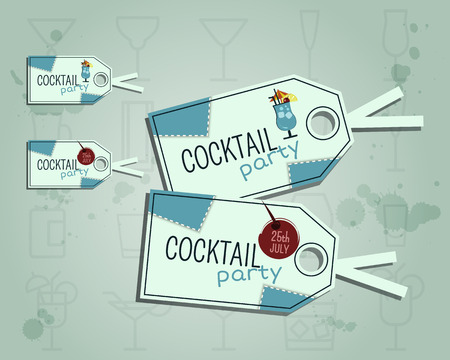 Summer cocktail party sticker and label layout template with blue lagoon cocktail, lemon and cherry elements. Fresh Modern design for cocktail bar. Isolated on unusual background. illustration