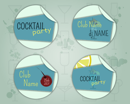 Summer cocktail party badge and label layout template with blue lagoon cocktail, lemon and cherry elements. Fresh Modern design for cocktail bar. Isolated on unusual background. illustration