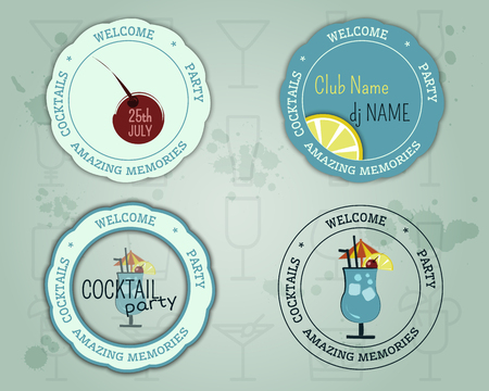 Summer cocktail party badge and  layout template with blue lagoon cocktail, lemon and cherry elements. Fresh Modern ice design for cocktail bar. Isolated on unusual background. illustration