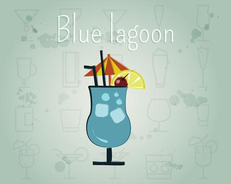 Blue Lagoon Cocktail. Summer stylish design. Isolated on unusual Background. illustration