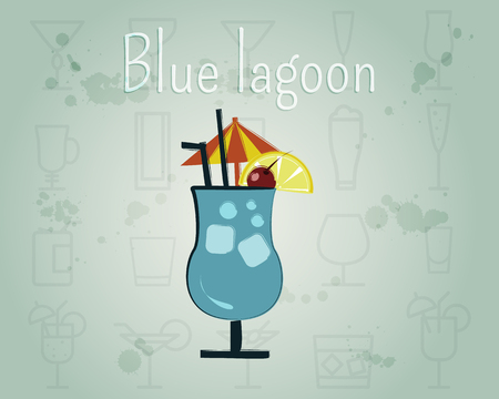Cóctel Blue Lagoon. Diseño elegante de verano. Aislado en el fondo inusual. ilustración Foto de archivo - 85288487