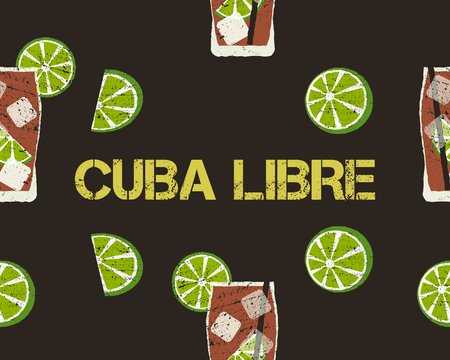 Seamless Pattern of Cuba Libre cocktail with lime and sign. Dark background. Unusual concept. Vector illustration Иллюстрация