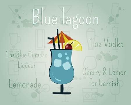 Blue Lagoon Cocktail banner and poster template with ingredients. Summer stylish design. Isolated on unusual Background. illustration
