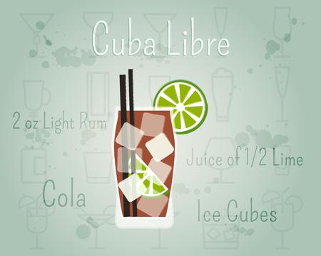 Cuba Libre Cocktail banner en poster sjabloon met ingrediënten. Zomer stijlvol ontwerp. Geïsoleerd op ongebruikelijke achtergrond. illustratie