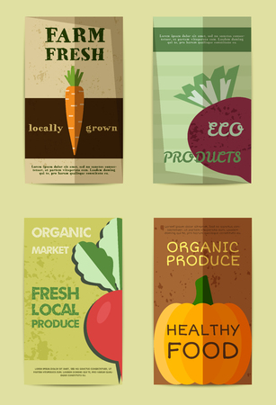 Set of Stylish Farm Fresh flyer, template or brochure design with carrot and radish. Mock up design. Vintage colors. Best for natural shop, organic fairs, eco markets and local companies. Vector illustration
