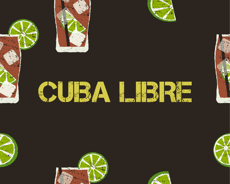 Seamless Pattern of Cuba Libre cocktail with lime and sign. Dark background. Vector illustration Illustration