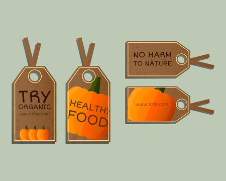 Stylish Farm Fresh badges, stickers templates set. Organic, bio pumpkin. Dark design. Bright colors. Best for natural shop, organic fairs, eco markets and local companies. Vector illustration Illustration