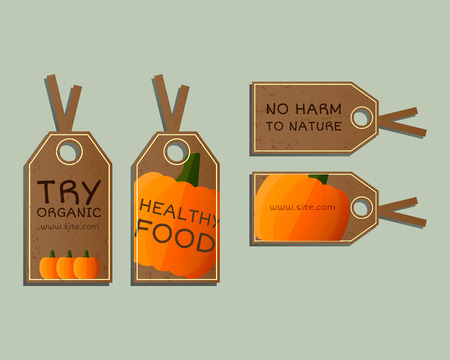 fairs: Stylish Farm Fresh badges, stickers templates set. Organic, bio pumpkin. Dark design. Bright colors. Best for natural shop, organic fairs, eco markets and local companies. Vector illustration Illustration