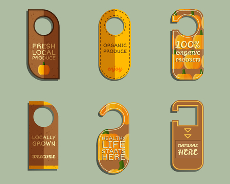 Stylish Farm Fresh brand door badge, sticker templates set. Organic, eco pumpkin. Dark design. Bright colors. Best for natural shop, organic fairs, eco markets and local companies. Vector illustration Illustration