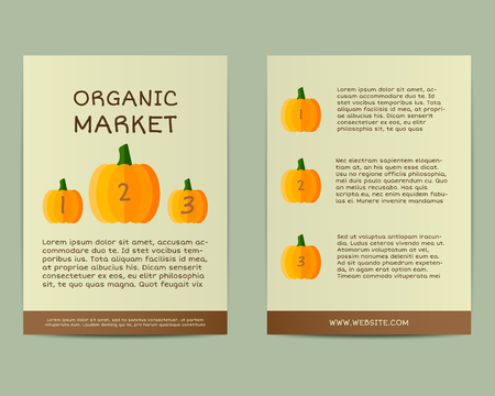 fairs: Natural business corporate identity design with pumpkin. Branding your organic company. Poster, flyer. Mock up design. Best for natural shop, organic fairs and local companies. Vector illustration Illustration