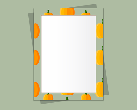 A4 Format paper design vector with text, picture frame and shadow. Organic and eco design. Pumpkin style. Can be use as Halloween frame. Vector illustration Ilustrace