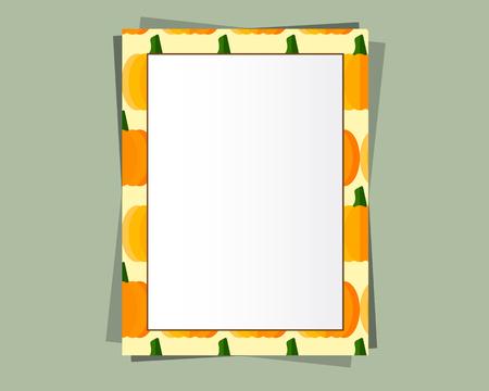 テキスト、額縁と影と A4 フォーマットの紙のデザインベクトル。オーガニックとエコデザイン。カボチャ。ハロウィンフレームとして使用できます
