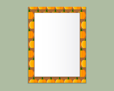 A4 Format paper design vector with text, picture frame and shadow. Organic and eco design. Pumpkin theme. Can be use as Halloween frame. Vector illustration