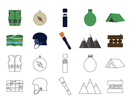 Set of flat adventure traveling icons. Camping elements. Flat and thin line design. Outdoor activity style. Hiking, backpacking and mountain tourism. illustration