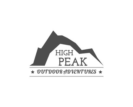 Vintage summer camp badge and other outdoor logo, emblem and label. High Peak concept, monochrome design. Best for travel sites, web app, adventure magazines. Easy to change color. . Stok Fotoğraf