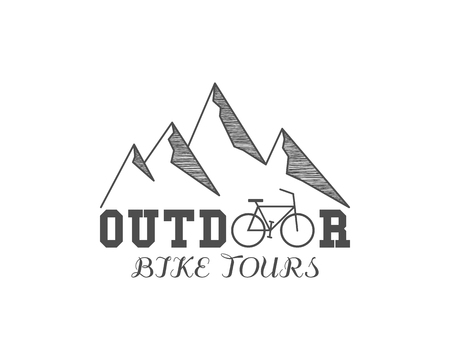 Vintage outdoor bike tours badge, outdoors logo, emblem and label. Mountain camp concept, monochrome design. Best for travel sites, web app, adventure magazines. Easy to change color. .