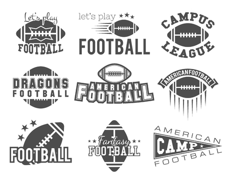 College rugby and american football team badges, logos, labels, insignias in retro style. Graphic vintage design for t-shirt, web. Monochrome print isolated on a white background. .