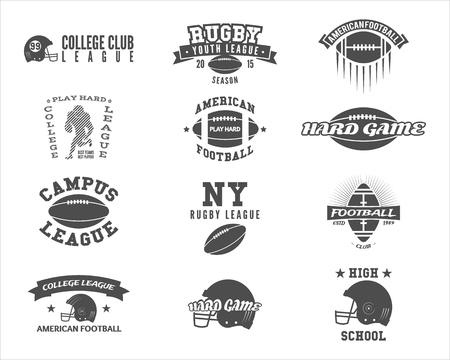 College rugby and american football team badges, logos, labels, insignias in retro style. Graphic vintage design for league tournaments, t-shirt, websites. Sports print on a white background. .