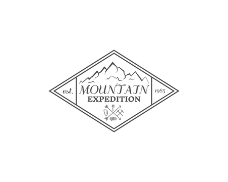 Summer mountain camp badge, logo, label and icon template. Travel, hiking, climbing style. Outdoor emblem. Best for adventure sites, company etc. On white background. illustration Stock Photo