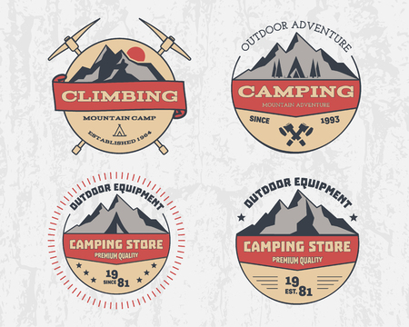 Set of retro color outdoor camping adventure and mountain, climbing, hiking badge logo, emblem, label. Vintage design. Summer, winter travel with family. illustration Stock Photo