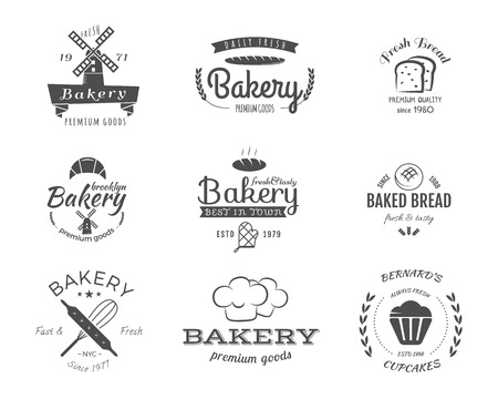 Set of bakery labels, icons, badges and design elements, symbols. Fresh bread, cakes logo templates. Monochrome vintage style. Cupcake emblem. Can be use for cafe, shop. illustration Stock Photo
