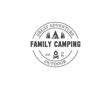 Retro family camping badge, outdoor logo, emblem and label. Forest campsite concept, monochrome design. Easy to change color. illustration