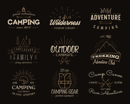 Set of retro badges and label  graphics. Camping emblems and travel insignia. Vintage colors, old style design. Family, canoe campsite, equipment shop etc. illustration