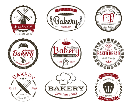 Set of bakery labels, bake badges and design elements, sweets symbols. Fresh bread, cakes logo templates. 2 Colors vintage style. Cupcake emblem. Vector illustration