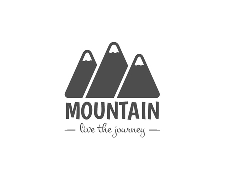 Vintage mountain camping badge, outdoor logo, emblem and label. Like the journey concept, monochrome design. Best for travel sites, adventure magazines. Easy to change color. illustration Stok Fotoğraf