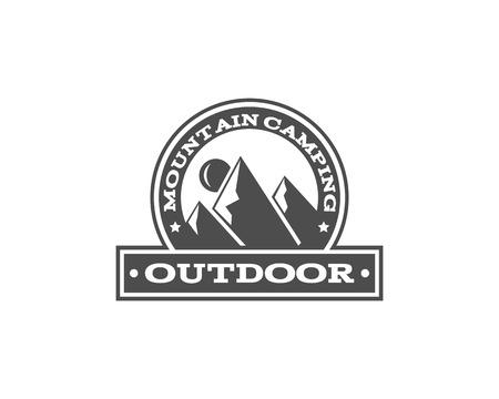 Vintage mountain camping badge, outdoor logo, emblem and label. Monochrome design. Travel concept. Easy to change color. illustration