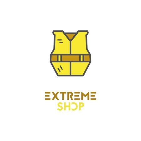 Icône de rafting minimaliste, logo, étiquette ou insigne de ligne. Emblème de la boutique extrême. Aventure en plein air, conception de couleur mignonne. Idéal pour magasin d'équipements, camping, site de voyage, flyer, bannière, affiche. . Banque d'images - 85456353