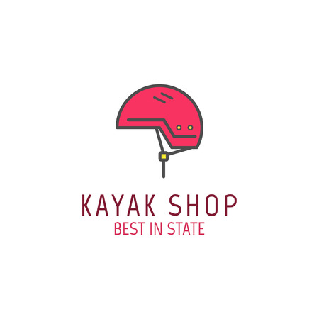 Cute minimal kayak shop icon, logo, label or line badge. Outdoor adventure emblem, nice color design. Best for equipments shop, campsite, travel site, flyer, banner, poster. illustration Stok Fotoğraf - 85452235
